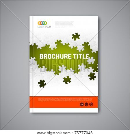 Modern Vector abstract brochure, report or flyer design template with puzzle pieces