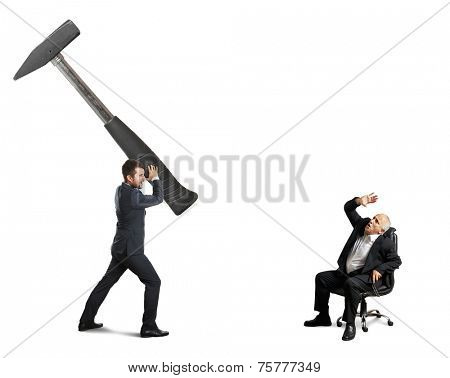 concept photo between stressed young businessman and senior boss. angry man with big hammer and scared senior man on the office chair. isolated on white background