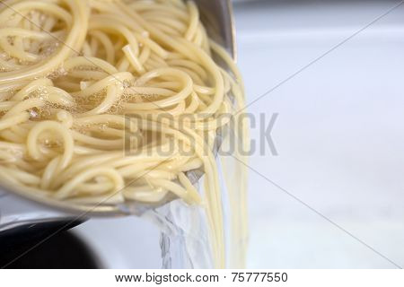 Cooking Spaghetti Noodles Meal: Strain The Pasta From Water