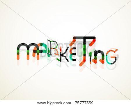 Marketing word font concept, minimal line design