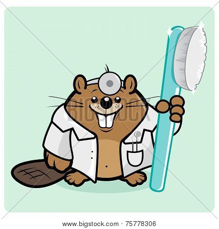 Beaver dentist holding a toothbrush