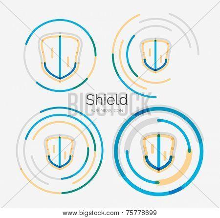 Thin line neat design logo set, clean modern concept, shield icon