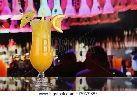 Orange Juice Fruit Cocktail In A Bar With Copy Space