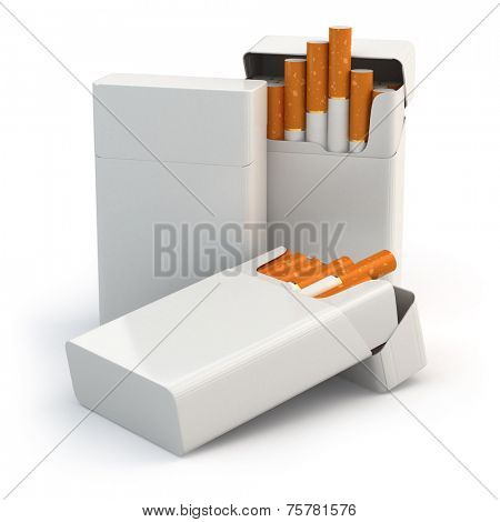 Open full packs of cigarettes isolated on white background. 3d