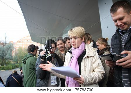 Candidate for mayor of Khimki opposition leader Yevgenia Chirikova and her head staff Nikolai Laskin