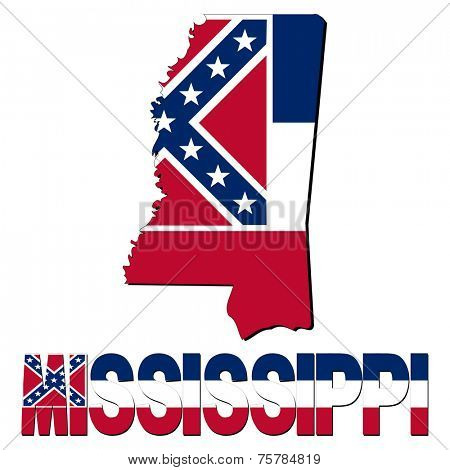 Mississippi map flag and text illustration