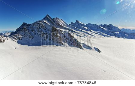 Swiss Aletch Glacier Helicopter View In Winter