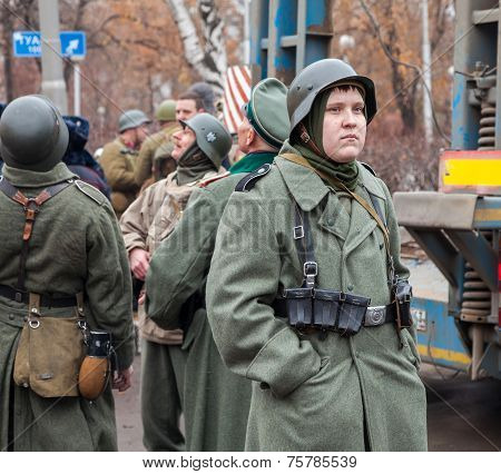 Samara, Russia - November 7, 2014: Member Of Historical Reenactment In German Army Uniform After Bat