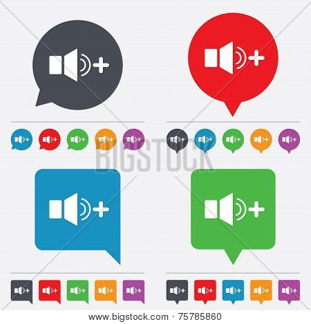 Speaker volume louder sign icon. Sound symbol.