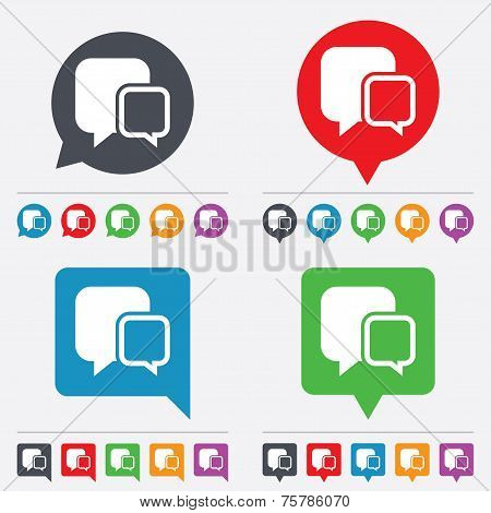 Chat sign icon. Speech bubbles symbol.