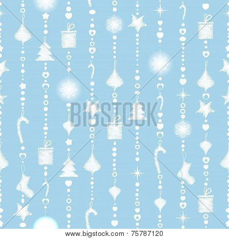 Seamless Pattern On A Blue Background With White Garlands