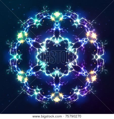 Abstract cosmic fractal vector snowflake