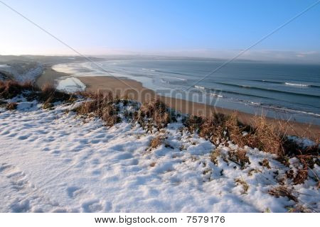 Coastal Snow Covered Golf Course