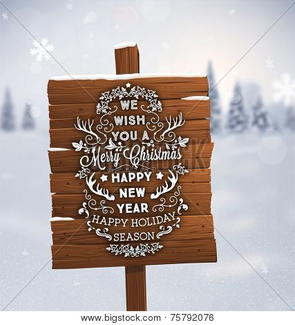 Winter Background. Blurred Landscape with Snow Drifts, Snowfall and Christmas Trees in the distance. Holiday Vector Illustration with Snowflakes, Sky and Xmas Label. Wooden Plaque with Christmas Label