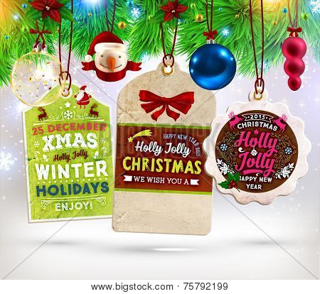 Christmas Sale Tags Set with Labels for Xmas and New Year Holiday Design. Santa Claus, Snowman, Christmas Balls and Xmas Tree