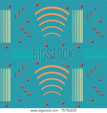 Colorful Abstract Pattern On Blue Background