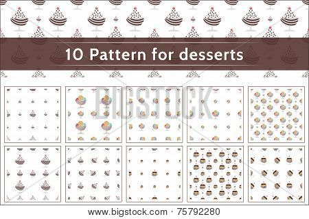 Ice cream pattern vector collection