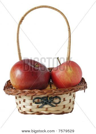 Two Apples In A Small Basket