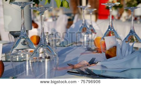 Wine Glasses At Elegant Table Setting