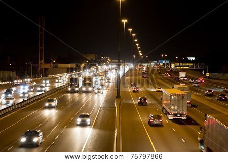 Traffic On A Highway At Night