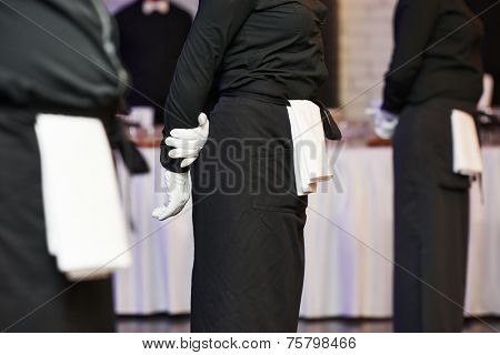 Professional catering business event waiter ready to service
