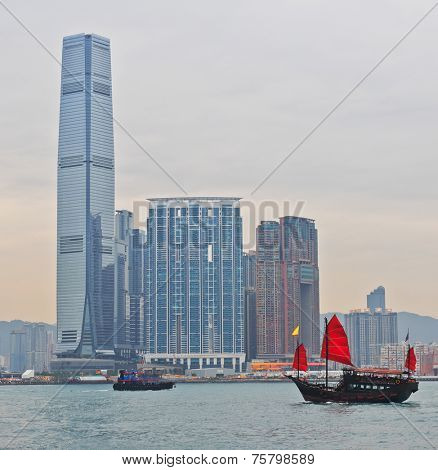 Daylight view at the Hong Kong island with transport ship boat at victoria harbor