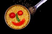 picture of temperance  - Mung lentils with a smiley face and it - JPG