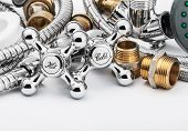 picture of plumbing  - plumbing and tools on a light background - JPG