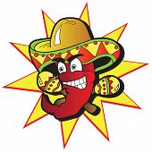 stock photo of maracas  - Illustration of a Chili Character pepper with a Pair of Maracas - JPG