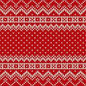 image of knitting  - Seamless pattern ornament on the wool knitted texture - JPG
