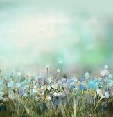 stock photo of wildflowers  - Abstract flower plant painting - JPG