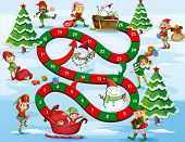 image of christmas theme  - Christmas themed board game with numbers - JPG