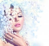 stock photo of snow border  - Winter Beauty Woman - JPG