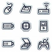 Electronics web icons set 2, deep blue contour sticker series