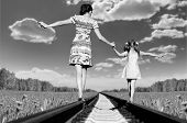 image of wander  - Mother with the daughter go on rails a back to a camera in field in the summer - JPG
