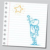 stock photo of reach the stars  - Schoolkid reaching star - JPG