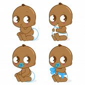 pic of pooping  - Vector Illustration set of  a cute African American baby boy drinking milk - JPG