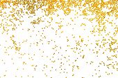 foto of glitter  - close up of the golden glitter falling isolated on white - JPG