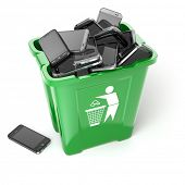 picture of garbage bin  - Mobile phones in garbage can isolated on white background - JPG
