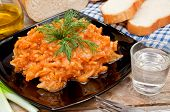 foto of water cabbage  - fried cabbage vodka bread and chives on a table - JPG
