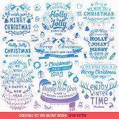 stock photo of snow owl  - Hand Drawn Christmas And New Year Decoration Set Of Calligraphic And Typographic Designs - JPG