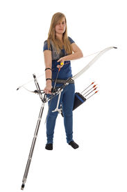 image of longbow  - Young girl with blue shirt and jeans holding a longbow isolated in white - JPG