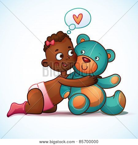 African American girl hugs Teddy Bear toy on a white background. Teddy plush toy. Little girl loving
