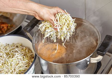 Adding bean sprout to the soup