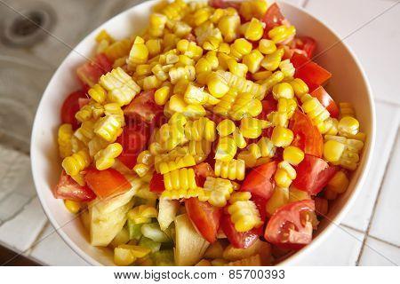 Fresh fruit and vegetables for salad