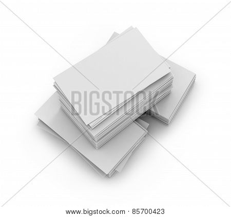 Stack of blank business cards on white background with soft shadows. Vector illustration. EPS 10.
