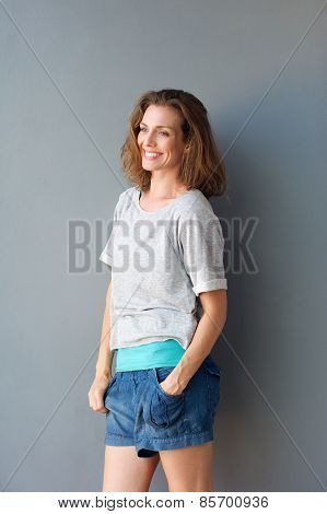 Attractive Mid Adult Woman Smiling In Shorts