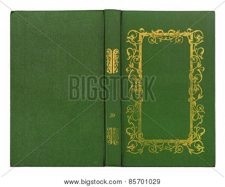Green Leather Book Cover With Gold Pattern Isolated On White Background