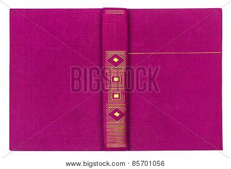 Purple Textile Book Cover Isolated On White Background