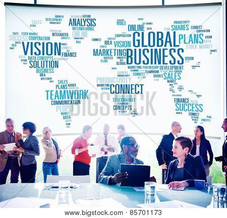 Global Business Connect Vision Solution Teamwork Success Concept